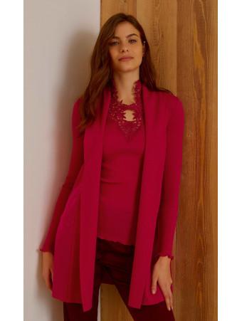 Woolen silk Long cardigan
